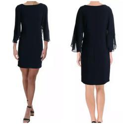 Lauren Ralph Lauren Blue Size 2 Sheer Sleeves Cocktail Dress on Queenly