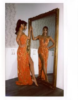 Custom Orange Size 0 Plunge Tall Height Yellow Side slit Dress on Queenly