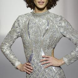 Sherri Hill Silver Size 4 Straight Dress on Queenly