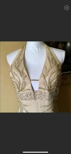 Night Moves Gold Size 14 Plus Size Straight Dress on Queenly
