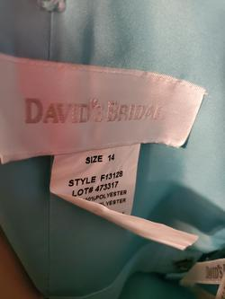 Style F13128 David's Bridal Blue Size 14 Plus Size Prom Cocktail Dress on Queenly