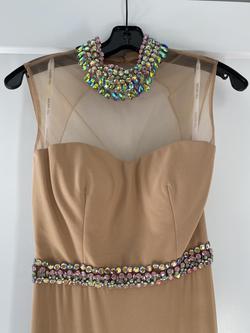 Sherri Hill Nude Size 2 Belt Sheer Jersey Side slit Dress on Queenly