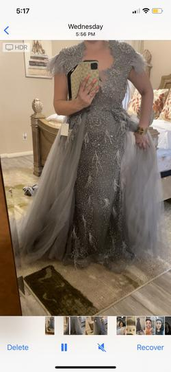 Brand new never been worn Great evening gown Silver Size 8 Gray Prom Jumpsuit Dress on Queenly
