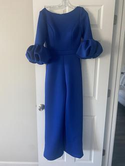 Jovani Royal Blue Size 4 Ruffles Sequin High Low Jumpsuit Dress on Queenly