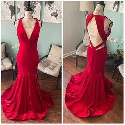 Jovani Red Size 10 V Neck Backless Prom Mermaid Dress on Queenly