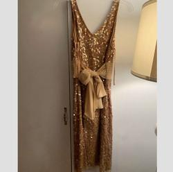Adrianna Papell Gold Size 6 Belt Wedding Guest Cocktail Dress on Queenly