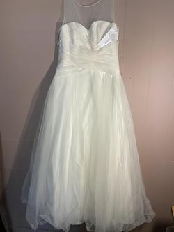 Off White Davids Bridal White Size 14 Boat Neck Homecoming Ball gown on Queenly