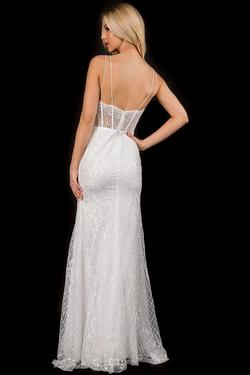 Style 3169 Nina Canacci White Size 4 Lace Spaghetti Strap A-line Dress on Queenly