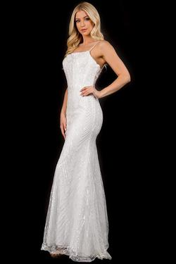 Style 3169 Nina Canacci White Size 12 Lace Spaghetti Strap A-line Dress on Queenly