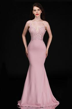 Style 3154 Nina Canacci Pink Size 4 Bridesmaid Lace Mermaid Dress on Queenly