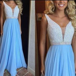 Sherri Hill Light Blue Size 0 Plunge Tulle A-line Dress on Queenly
