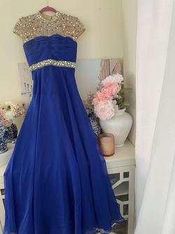 Sherri Hill Blue Size 0 Cap Sleeve Ball gown on Queenly