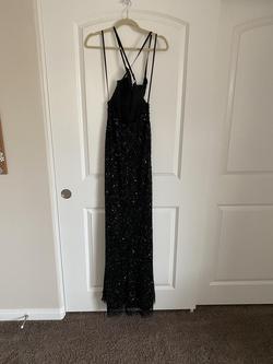 Rene the Label Black Size 2 Jewelled Sequin V Neck Side slit Dress on Queenly