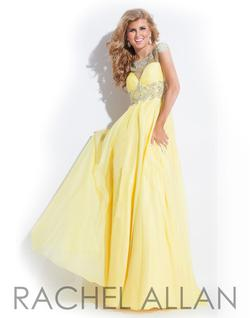 Style 6860 Rachel Allan Yellow Size 2 Coral A-line Dress on Queenly