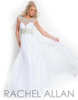 Style 6860 Rachel Allan White Size 10 A-line Dress on Queenly