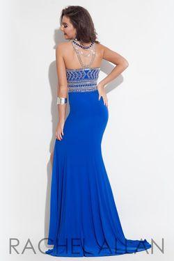 Style 7115RA Rachel Allan Royal Blue Size 4 Halter Sequin Side slit Dress on Queenly