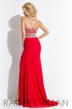 Style 7115RA Rachel Allan Red Size 0 Sequin Halter Side slit Dress on Queenly