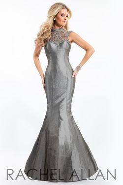 Style 7154RA Rachel Allan Silver Size 12 Silk Mermaid Dress on Queenly