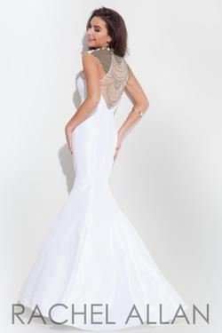 Style 7154RA Rachel Allan White Size 4 Silk Mermaid Dress on Queenly