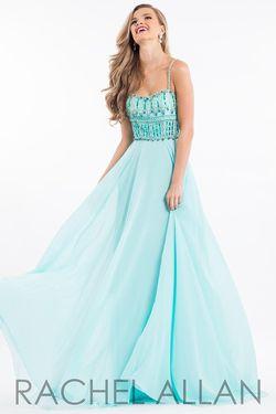 Style 2118 Rachel Allan Light Green Size 16 A-line Dress on Queenly