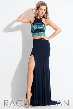 Style 2120 Rachel Allan Blue Size 2 Prom Halter Two Piece Side slit Dress on Queenly