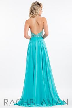 Style 2122 Rachel Allan Blue Size 12 Backless Halter A-line Dress on Queenly