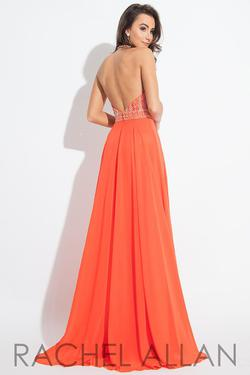 Style 2122 Rachel Allan Orange Size 8 Jersey Backless A-line Dress on Queenly