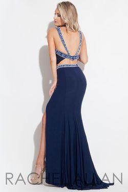 Style 2063 Rachel Allan Blue Size 4 Halter Two Piece Side slit Dress on Queenly