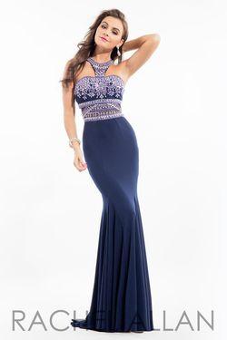 Style 7110RA Rachel Allan Blue Size 6 Mermaid Dress on Queenly