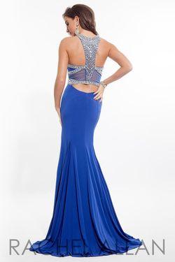 Style 7110RA Rachel Allan Blue Size 2 Jersey Mermaid Dress on Queenly