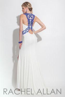 Style 7136RA Rachel Allan White Size 4 Halter Side slit Dress on Queenly