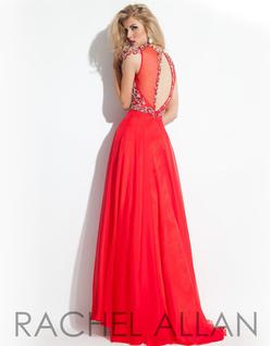Style 6842 Rachel Allan Red Size 12 Cap Sleeve A-line Dress on Queenly