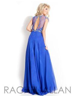 Style 6842 Rachel Allan Blue Size 12 Cap Sleeve A-line Dress on Queenly