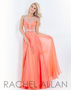Style 6849 Rachel Allan Orange Size 00 Coral A-line Dress on Queenly