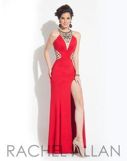 Style 6848 Rachel Allan Red Size 16 Jersey Side slit Dress on Queenly
