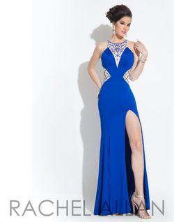 Style 6848 Rachel Allan Blue Size 8 Jersey Side slit Dress on Queenly