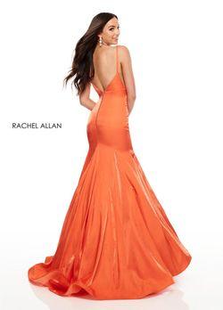 Style 7114 Rachel Allan Orange Size 4 Silk V Neck Mermaid Dress on Queenly