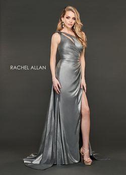 Style 8406 Rachel Allan Silver Size 10 Shiny Side slit Dress on Queenly