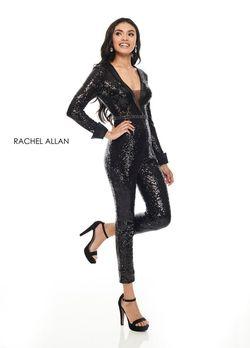 Style L1279 Rachel Allan Black Size 6 Plunge Jumpsuit Dress on Queenly
