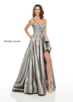 Style 7051 Rachel Allan Silver Size 12 Shiny Side slit Dress on Queenly