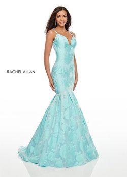 Style 7087 Rachel Allan Blue Size 6 Mermaid Dress on Queenly
