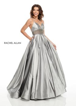 Style 7094 Rachel Allan Silver Size 14 Shiny Ball gown on Queenly