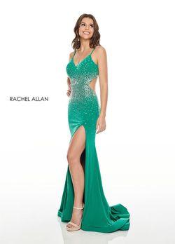 Style 7081 Rachel Allan Green Size 8 Jersey Side slit Dress on Queenly