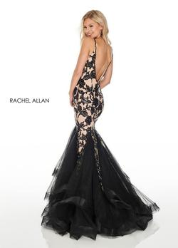 Style 7096 Rachel Allan Black Size 10 Sequin Backless Pattern Mermaid Dress on Queenly