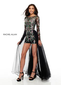 Style 7026 Rachel Allan Black Size 8 Jumpsuit Dress on Queenly