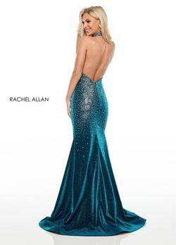 Style 7197 Rachel Allan Blue Size 8 Sequin Halter Side slit Dress on Queenly