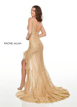 Style 7208 Rachel Allan Gold Size 0 Plunge Shiny Side slit Dress on Queenly