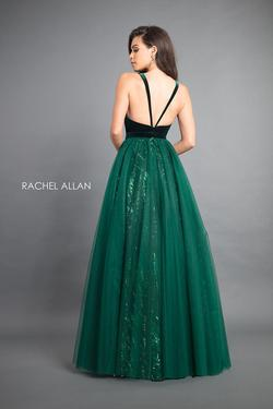 Style 8364 Rachel Allan Green Size 6 Sequin Ball gown on Queenly