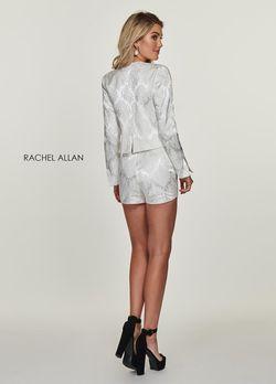 Style L1174 Rachel Allan White Size 4 Blazer Jumpsuit Dress on Queenly