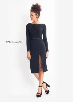 Style L1175 Rachel Allan Black Size 4 Long Sleeve Jersey Cocktail Dress on Queenly